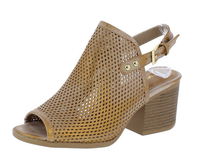 Core30 Taupe Distressed Peep Toe Perforated Slingback Mule Heel - Wholesale Fashion Shoes