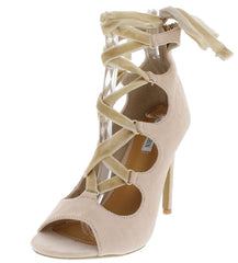 CORINA10 NUDE OPEN TOE LACE UP HEEL - Wholesale Fashion Shoes