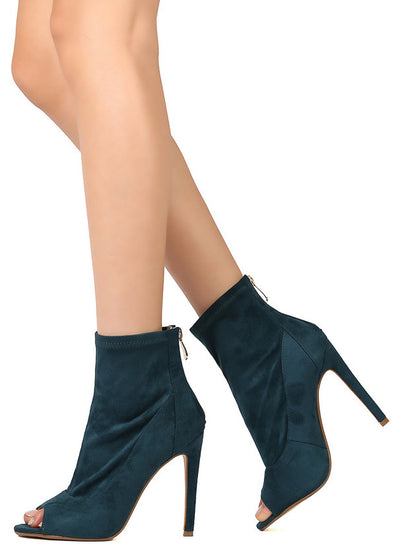 Corina4 Peacock Open Toe Slight Stretch Ankle Boot - Wholesale Fashion Shoes
