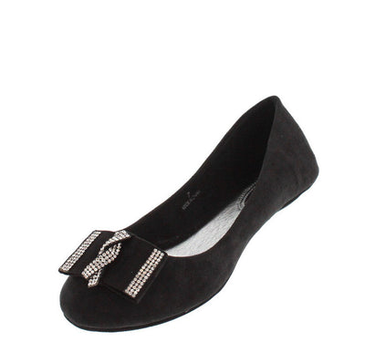 Corounaa1 Black Rhinestone Bow Flat - Wholesale Fashion Shoes
