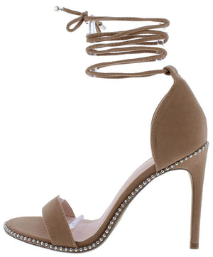 aa6ef661a Cosi Taupe Studded Open Toe Ankle Wrap Stiletto Heel - Wholesale Fashion  Shoes