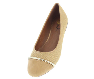 Costa1 Gold Metal Toe Strip Shimmer Flat - Wholesale Fashion Shoes