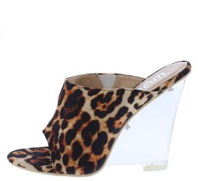 Cotton Candy Leopard Peep Toe Slide On Lucite Wedge - Wholesale Fashion Shoes