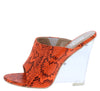 Cotton Candy Orange Snake Peep Toe Slide On Lucite Wedge - Wholesale Fashion Shoes