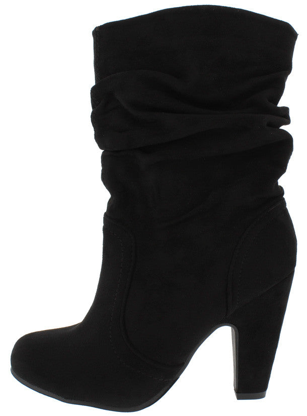 COUNTESS6 BLACK SLOUCH CHUNKY HEEL ANKLE BOOTS FROM $12.88 - $27.88.