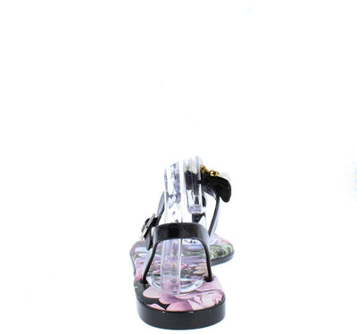Cove01 Black Bow Pearl Flower Thong Sandal - Wholesale Fashion Shoes