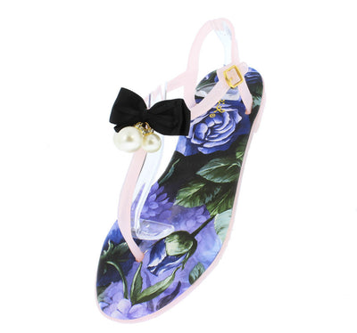 Cove01 Nude Bow Pearl Flower Thong Sandal - Wholesale Fashion Shoes