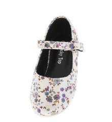 COVER66A BLACK FLORAL VELCRO STRAP INFANT FLAT - Wholesale Fashion Shoes