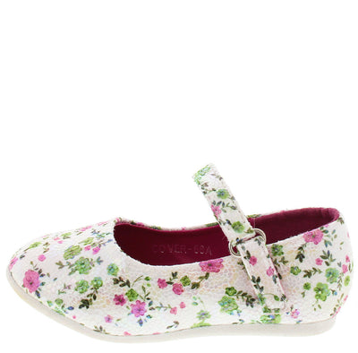 Cover66a Fuchsia Floral Velcro Strap Infant Flat - Wholesale Fashion Shoes
