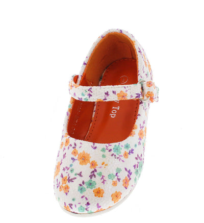 Cover66a Orange Floral Velcro Strap Infant Flat - Wholesale Fashion Shoes