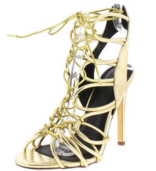 LEIA055 GOLD ADJUSTABLE TIE STRAPPY OPEN TOE STILETTO HEEL - Wholesale Fashion Shoes