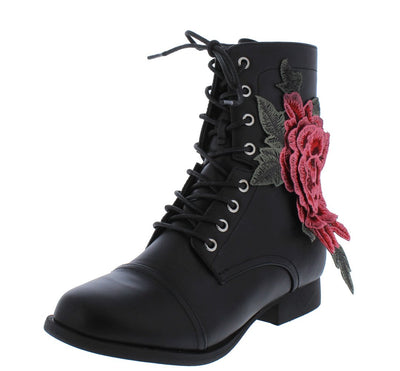 Jennie205 Black Flower Lace Up Combat Boot - Wholesale Fashion Shoes