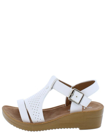 Cozy15K White Open Toe T Band Ankle Strap Kids Sandal - Wholesale Fashion Shoes