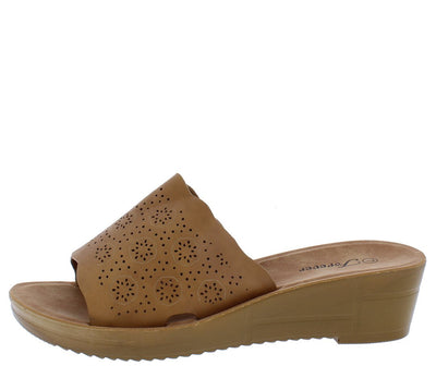Cozy17 Tan Scalloped Perforated Open Toe Mule Wedge - Wholesale Fashion Shoes