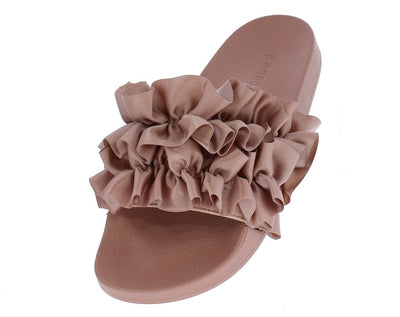 Cozy21m Mauve Satin Ruffle Mule Slide Sandal - Wholesale Fashion Shoes