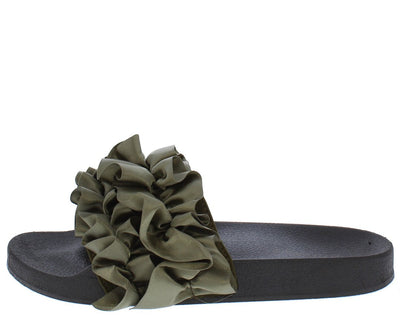 Cozy21m Olive Satin Ruffle Mule Slide Sandal - Wholesale Fashion Shoes