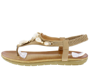 e5140fbf9 Crab1628 Beige White Gemstone Gold Sling Back Thong Sandal - Wholesale  Fashion Shoes