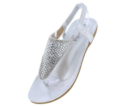 Audrey216 Silver Rhinestone Slingback Thong Sandal - Wholesale Fashion Shoes