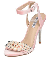 CRAFT2 PINK PEARL BEADED OPEN TOE LUCITE TAPERED HEEL - Wholesale Fashion Shoes