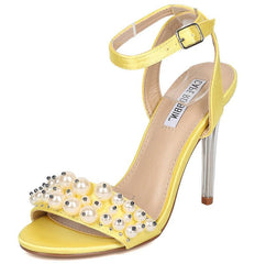CRAFT2 YELLOW PEARL BEADED OPEN TOE LUCITE TAPERED HEEL - Wholesale Fashion Shoes