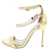 Cecilia117 Gold Open Toe Ankle Strap Rhinestone Chain Heel - Wholesale Fashion Shoes