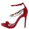 Cristy Red Open Toe Ankle Strap Rhinestone Chain Heel - Wholesale Fashion Shoes