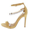 Cecilia117 Tan Open Toe Ankle Strap Rhinestone Chain Heel - Wholesale Fashion Shoes