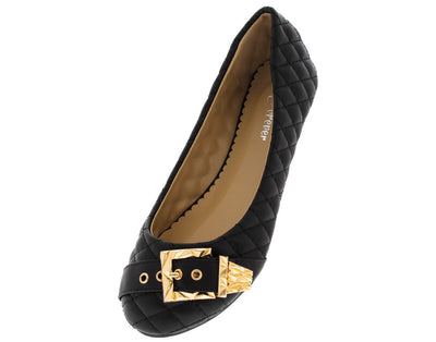 Crunch96 Black Quilted Buckle Toe Flat - Wholesale Fashion Shoes