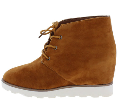 Crusade Cognac Suede Lace Up Lug Sole Ankle Boot - Wholesale Fashion Shoes