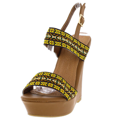Crystal10 Camel Colorful Embroidered Sling Back Wedge - Wholesale Fashion Shoes