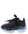 Crystal1k Black Lace Up Chunky Clear Kids Sneaker Flat