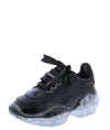 Crystal1k Black Lace Up Chunky Clear Kids Sneaker Flat - Wholesale Fashion Shoes