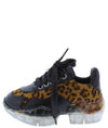 Crystal1k Leopard Lace Up Chunky Clear Kids Sneaker Flat