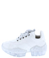 Crystal1k White Lace Up Chunky Clear Kids Sneaker Flat