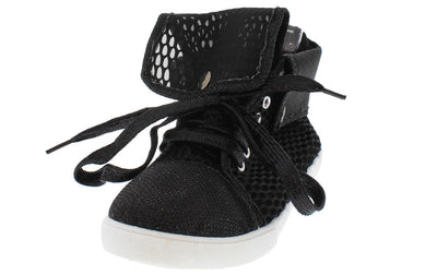 Crystal Black Glitter Sheer Mesh Sneaker Flat - Wholesale Fashion Shoes
