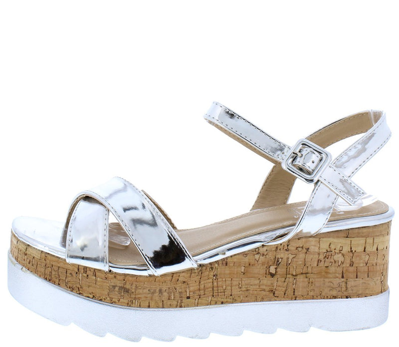 233f51fb6 Cube5 Silver Cross Strap Open Toe Ankle Strap Cork Wedges Only  10.88 -  Wholesale Fashion Shoes