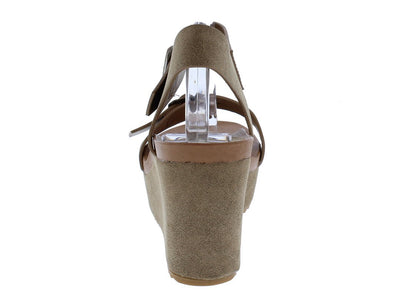 Cuddle01s Taupe Open Toe Dual Buckle Strap Wedge - Wholesale Fashion Shoes