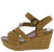 Cuddle07s Natural Distressed Strappy  Open Toe Ankle Strap Wedge