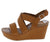 Cuddle10s Tan Distressed Open Toe Cross Strap Slingback Wedge