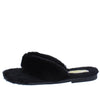 Cuddle4 Black Faux Fur Flat Slide Thong Sandal - Wholesale Fashion Shoes