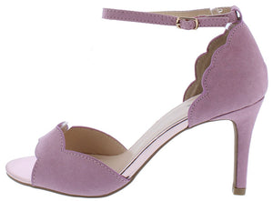 5b7a51a710 Cullen07 Ash Lilac Suede Pu Scalloped Peep Toe D Orsay Heel - Wholesale  Fashion Shoes