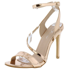 Curious07 Rose Gold Patent Open Toe Cross Strap Heel - Wholesale Fashion Shoes