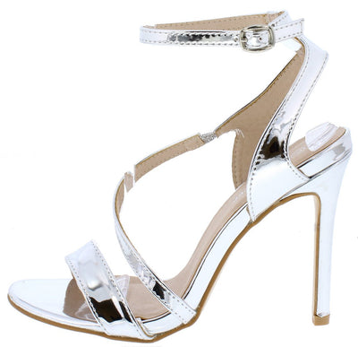 Curious07 Silver Patent Open Toe Cross Strap Heel - Wholesale Fashion Shoes