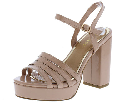 Current12s Nude Multi Strap Open Toe Slingback Heel - Wholesale Fashion Shoes