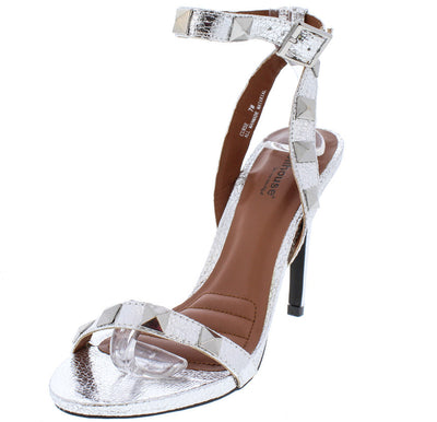 Curse Silver Metallic Studded Open Toe Heel - Wholesale Fashion Shoes