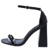 Curvy Black Open Toe Ankle Strap Tapered Block Heel - Wholesale Fashion Shoes