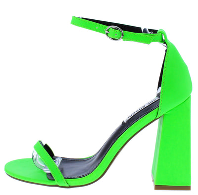 Curvy Green Open Toe Ankle Strap Tapered Block Heel - Wholesale Fashion Shoes