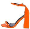Curvy Orange Open Toe Ankle Strap Tapered Block Heel - Wholesale Fashion Shoes
