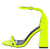 Curvy Yellow Open Toe Ankle Strap Tapered Block Heel