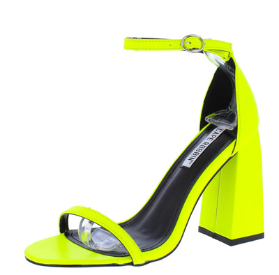 Curvy Yellow Open Toe Ankle Strap Tapered Block Heel - Wholesale Fashion Shoes